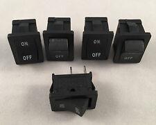 5 pc ARE Black Mini Rocker Switch 6A 125V 3A 250V ON-OFF Button 2 Pin SPST