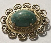 Vintage Winard 12k Gold Filled GF Brooch Pin Genuine Amazonite Stone Filigree