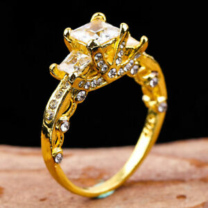 1CT White Sapphire Birthstone Gold Filled Wedding Bridal Ring Gift Size 5-11