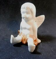 ANGEL CHERUB  VINTAGE SMALL CERAMIC Winged Figurine with Gold Color accents