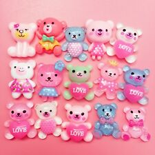 15 Kawaii Resin Bear Cabochons Cute Decoden Craft Charm Pastel Animal Flatbacks