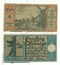 OLD GERMANY EMERGENCY PAPER MONEY - NOTGELD Berlin 1921 50 Pf Townships 4