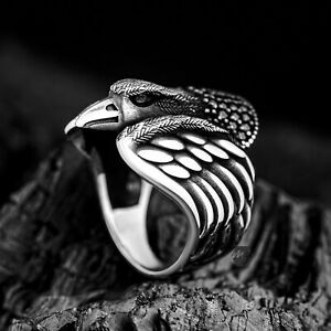 Solid 925 Sterling Silver Black Micro Stone Eagle Figure Men's Ring