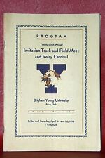 1939 Brigham Young University 29th Annual Invitation Track & Field Meet & Relay