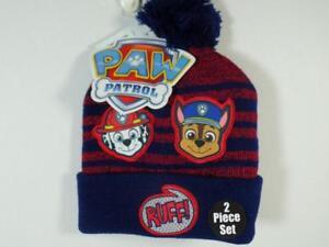 New Toddler Boy's PAW PATROL Marshall & Chase Cuffed Tassel Beanie Hat & Mittens