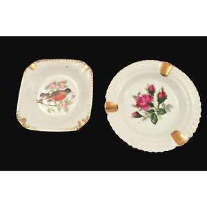 2 Vintage Ashtrays Square Robin Round Rose Floral Porcelain Japan Collectible