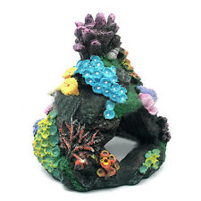 Aquarium Rock Cave Ornament Sucker Mounted Coral Reef Fish Rock With Coral UKYQ