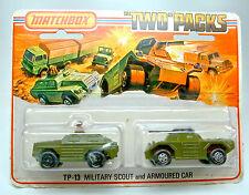 MATCHBOX tp13 Military Scout & ARMOURED CAR 1 modèle avec Chrome Jantes
