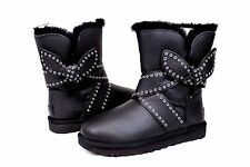 UGG AUSTRALIA MABEL BOW BLACK LEATHER SHEEPSKIN BOOTS SIZE 8 US