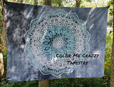 Grey And Blue Mandala Tapestry - Large 150 x 200 cm