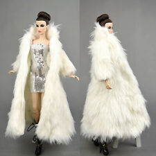 2 Pcs Fashion White Long Fur Coat +dress Clothes/Outfit For 11.5in.Doll