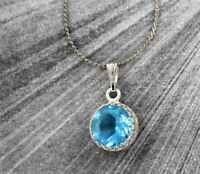Blue Topaz Gemstone Pendant Necklace in Sterling Silver Setting with Chain