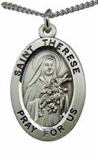 "Saint Therese of Lisieux Oval Sterling Silver 7/8"" Medal w/ 18"" Chain USA Made"
