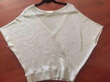 Matty M Women's Sequin Domain Sleeve Beige Sweater Med