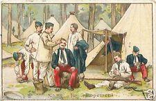 LE CAMPEMENT CHROMO XIX eme 19th COSTUME MILITAIRE III ème REPUBLIQUE CARD