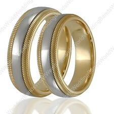 Solid 14K Gold His & Her Wedding Bands Two Tone Matching Wedding Ring Set 6mm