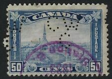 Perfin C46-CW/C (Canadian Westinghouse Co.): Scott 176, 50c Grand Pre, Pos. 1