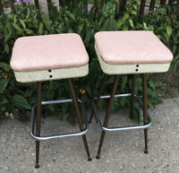 "Set of 2 * VTG MCM Metal Pink 13"" Square Kitchen Retro Bar Counter Stools Chairs"