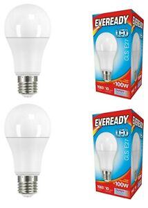 Eveready LED Opal GLS Bulb - 14w (=100w) E27 Screw Daylight White 6500K - 2 Pack