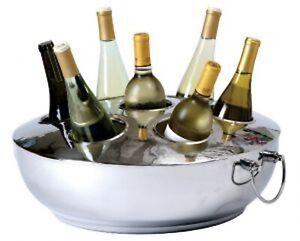 New Silver 7 Bottle Wine Beverage Chiller Stainless Steel Bartending Gift