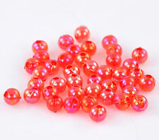 500 RED AB ROUND ACRYLIC BEADS ~4mm~Wine glass charms~Bracelets~Sewing (27J) UK