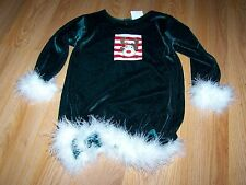 Size 3T Haute Baby Green Velour Holiday Dress Feather Trim Rudolph Reindeer EUC