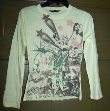 Playboy long sleeve tshirt Sz S light yellow retro playmate print tee shirt