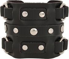Men's 3 Strap Black Cuff Wrist band - Rings & Studs - Genuine Leather