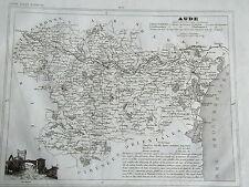 11 Aude gravure carte géographique Monin 1835 (c11-11)