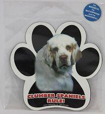 "Clumber Spaniels Rule! 5"" Waterproof Dog Paw Print Magnet"