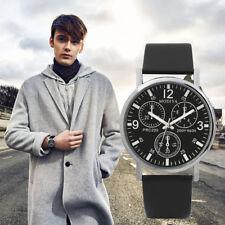 2018 Fashion Mens Watches Quartz Men's Watch Blue Glass Leather Belt Watch