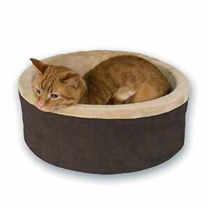 """K&H Pet Products Thermo-Kitty Heated Pet Bed Small Mocha 16"""" 4W"""