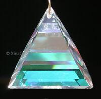 "Huge 8950-2011-50mm SWAROVSKI Flame Triangle Austrian Crystal Clear AB Prism 2"""