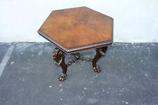 Incredible English Burl Walnut Heavily Carved Center Side Table, 19th C.