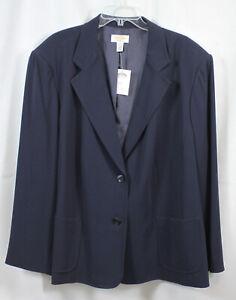 Talbots Woman Blazer Jacket 2 Button Navy Blue Plus All Season Wear Classy 24W