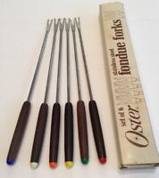 Mid-Century Modern FONDUE FORKS Wood Stainless Steel Set of 6 Boxed Oster JAPAN