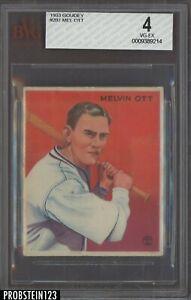 1933 Goudey #207 Mel Ott New York Giants HOF BVG 4 VG-EX