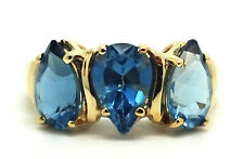 14K Yellow Gold 8 mm x 6 mm Pear Blue Topaz Ring Size 7.5 / 3.3 Grams