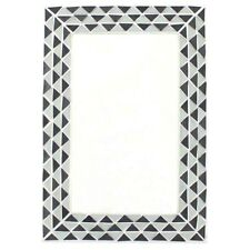 More details for triangle pattern monochrome black and white wall mirror. mosaic details