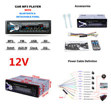 1Din Car Radio Stereo MP3 Player Bluetooth AUX Input With Detachable Front Panel