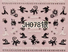 Halloween Black Witch Spider Cat Hat Broom Silver Stud 3D Nail Art Sticker Decal