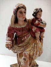 Grande vierge à l'enfant en bois polychrome XVIIIe 18th