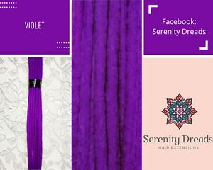 Serenity Dreads- 10 violet purple Double Ended Wool Dreads Dreadlocks Medium