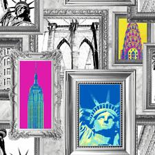 Wallpaper Silver Metallic Mylar Black Bright Color Framed New York City Landmark