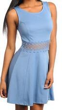 Cornflower Blue Sleeveless Dress Lace Trim Junior M Medium New Without Tags