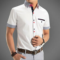 Slim Fit Men Casual Shirt Short Sleeve Summer Camisa Social chemise homme