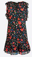 J. Crew Factory Women's Printed Flutter Dress Black Floral J0841 Sizes M,L,XL (q