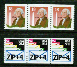 U.S.A. – 1985  – COIL STRIPS OF 3 – VF  **