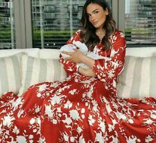 H&M X Johanna Ortiz Satén Rojo Maxi Vestido con estampado de flores voluminoso tamaño S Bnwt
