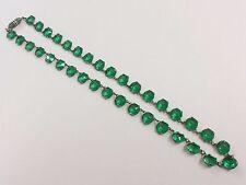 ART Deco aperto supportato Smeraldo Verde Crystal Glass Costume Collana 1920